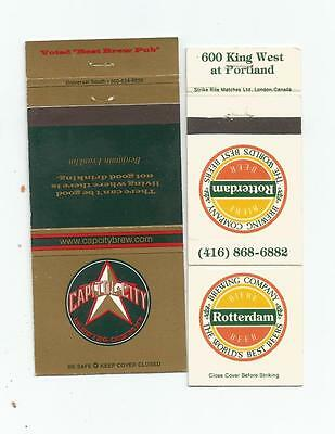 2 Brewing Company Matchcovers  Capitol City & Rotterdam