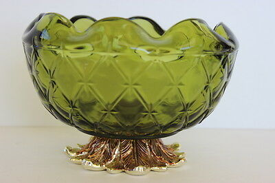 Hollywood Regency Quilted Green Glass Bowl Compote Gold Metal Leaves Pedestal