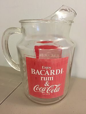 Vintage 70's Bacardi Rum And Coke Coca Cola 2 Qt Glass Pitcher