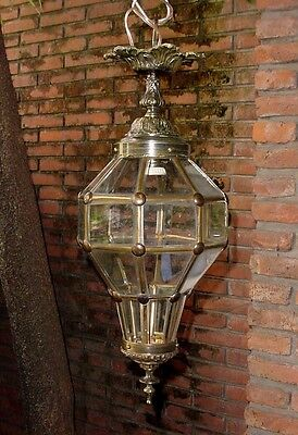 "Antique Bronze Brass Crystal Glass Cut Panels Ceiling Lantern Lamp 20"" Wired"