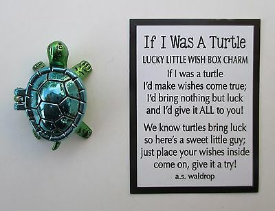 e Blue IF I WAS A TURTLE Lucky Little Wish Box Charm luck ganz pocket figurine