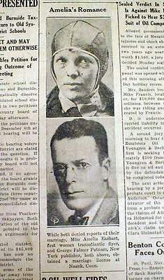1930 newspaper airplanr aviator AMELIA EARHART to marry GEORGE PUTNAM publisher