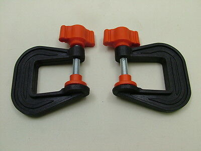 Pair of mini G-clamps 25mm new,British made,high strength nylon, crafts, models