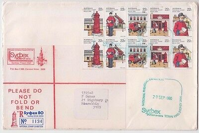 Stamps Australia postman 2 x strips of 5 SYDPEX exhibition registered cover