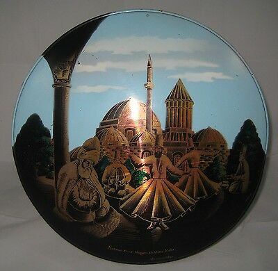 Vintage Turkish Whirling Dervish Copper Tin Convex Wall Plate 12.5 Inches
