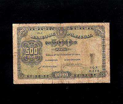 Portugal 1904 Banknote 500 Reis Pick-105 Good Condition Rare