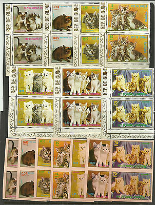Equatorial Guinea- Cats Theme- 14 Pairs Of Issues & Non Full Color Imperfs
