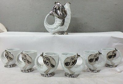 Vintage White Porcelain With Silver Overlay Figurial Fish Pitcher & 6 Cup Set