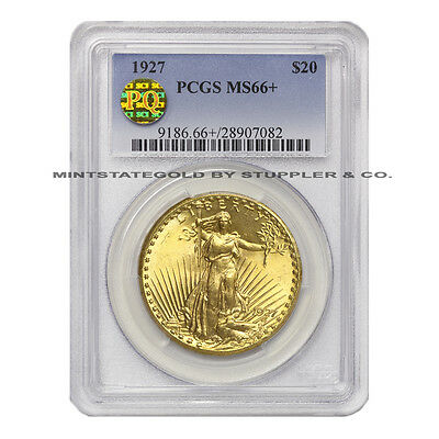 1927 $20 Saint Gaudens PCGS MS66+ plus graded Gold Double Eagle PQ Approved coin