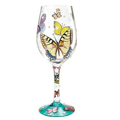 Lolita Butterfly Wishes Wine Glass New Boxed