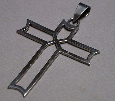 "Mexican Cross Pendant, Sterling Silver, 2 1/8"", 6.9 g, Outline Motif"