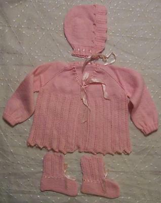 Vintage HANDMADE Pink KNITTED Baby/Infant SWEATER HAT/BONNET & BOOTIES Doll/Bear