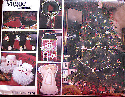 VOGUE Christmas Stocking Ornaments Wreath Angel Tree Skirt Pattern 2776 UNCUT