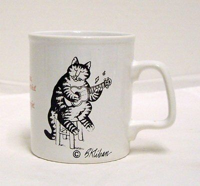 Kliban Cat Playing Guitar Singing About Eating Mousies Mug Kiln Craft England