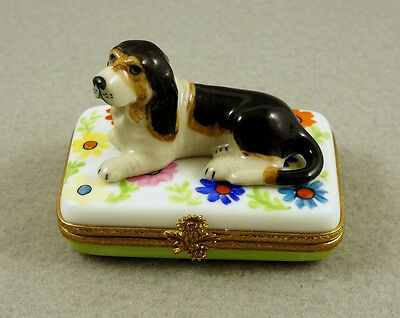 New French Limoges Trinket Box Basset Hound Dog Puppy On Colorful Flowers