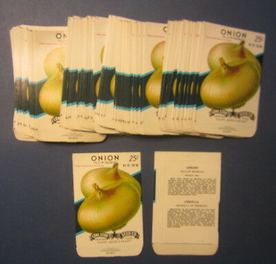 Wholesale Lot of 100 Old Vintage - ONION - Yellow Bermuda - SEED PACKETS - EMPTY