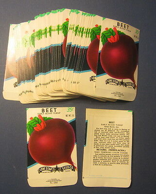 Wholesale Lot of 100 Old Vintage Blood Turnip BEET Vegetable SEED PACKETS -EMPTY