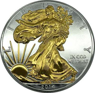 American Silver Eagle 2014 OZ SILBER mit Goldapplikation  gilded