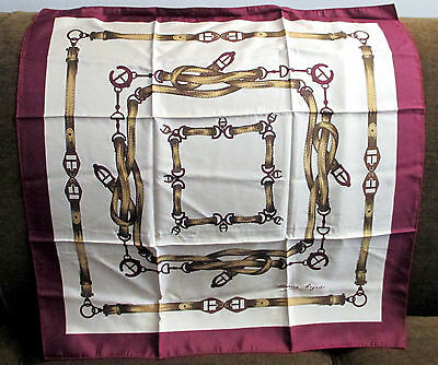 Vintage Etienne Aigner Equestrian Scarf~Silk, Made In Italy~Excellent Condition