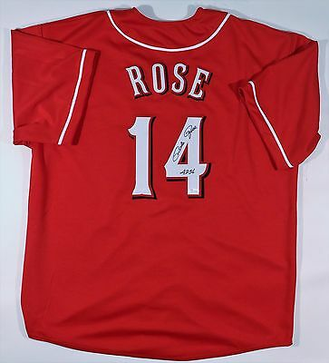 "Pete Rose  Signed Reds Custom Red Jersey ""4256"" Jsa W Authenticated"