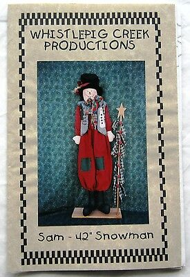 """Whistlepig Creek Productions Doll Pattern Sam 42"""" Snowman"""