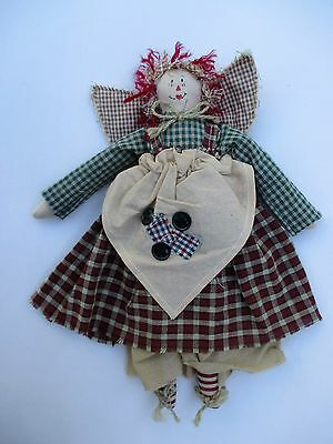 h primitive country RAGGEDY ANN DOLL red plaid dress