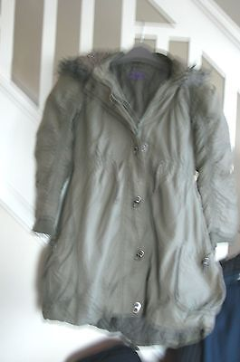 Girls Green M&S Hooded coat age 9-10
