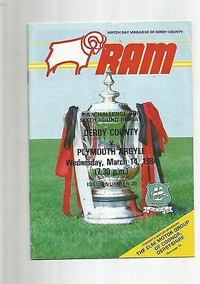 F A Cup 6th Round Replay Derby County v Plymouth Arg 1984
