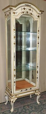 REGENCY STYLE CURIO CABINET White With Gold Roses Lighted Display VINTAGE