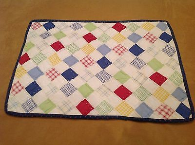 Patchwork Doll Crib Quilt Or Table Pad, Postage Stamp Patches, Red, Blue, White