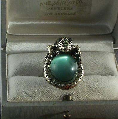 Green Enamel and Crystal Gold Plated Frog Ring with Ball Size 6 1/2 - 7
