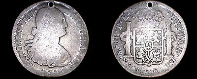1805-Mo TH Mexican 8 Reales World Silver Coin - Mexico - Carlos IIII - Holed