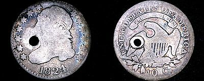 1824/22 Liberty Capped Bust Silver Dime - Holed