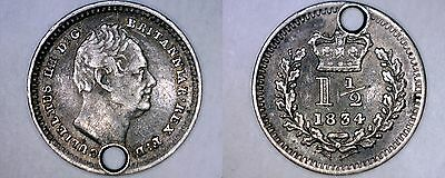 1834 Great Britain 1-1/2 Pence World Silver Coin - UK - England - Holed