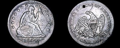 1854-P Seated Liberty Silver Quarter - Arrows - Hole Marked
