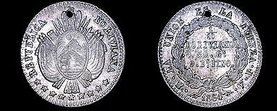 1864-PTS FP Bolivian 1/10 Boliviano World Silver Coin - Bolivia - Holed