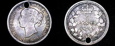 1870 Canadian Nickel 5 Cents Canada World Silver Coin - Holed
