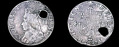 ND (1660-85) Great Britain 2 Pence World Silver Coin - UK - England - Holed