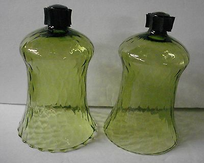 2 Vintage Green Glass Peg Candle Votive Cups W/Rubber Adapters Home Interiors X