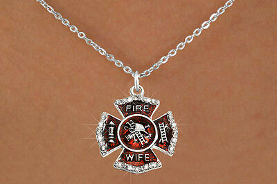 Firefighter's Wife Silvertone Red Enameled Maltese Cross Crystal Charm Necklace
