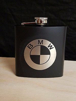 Etched 6 oz. Flask Matte Black Funnel Gift Box,BMW LOGOS, FREE SHIPPING