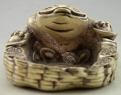 Collectible Decorated Silver Plate Copper Carved Bring Money Toad Ashtray