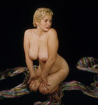 1960s Huge Breasted Pinup Nude Posing with Colored Ribbon 5 x 5 Photograph
