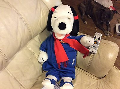 Vintage Worlds of Wonder Talking Snoopy w Blue Outfit