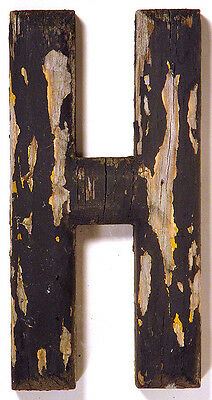 1930s Vintage WOODEN SIGN LETTER H Sans Serif Advertising Primitive Wall Hanging