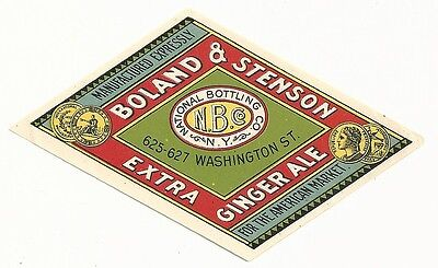 1890's Boland & Stenson Extra Ginger Ale Label - New York, NY