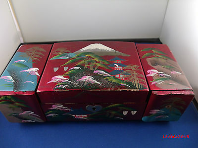Vintage Japanese Red Laquer hand painted with Geisha on mirror Non-working