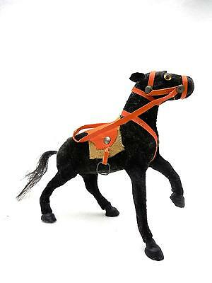 Antique Toy Horse Wood & Composition Covered in Black Cloth Glass Eyes
