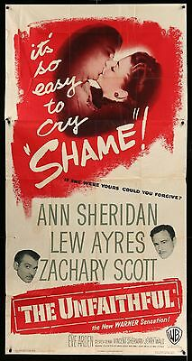 The Unfaithful - Ann Sherdan VINTAGE 1947 ORIGINAL 3-SHEET MOVIE POSTER  three