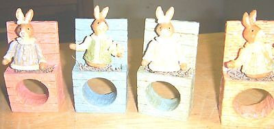 Easter Bunniy Figurines Napkin Holders JC Penney Home Collection #789025AB  NIB